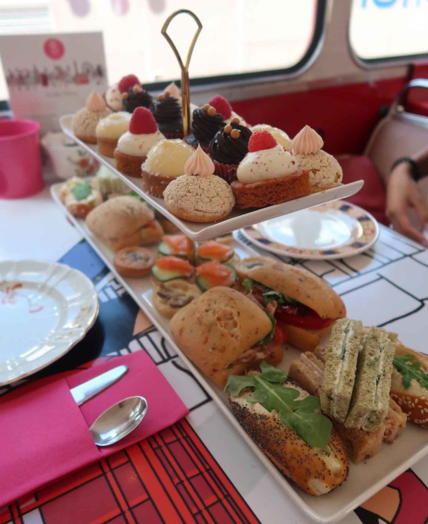 Menu selection on the B Bakery Afternoon Tea London Bus Tour