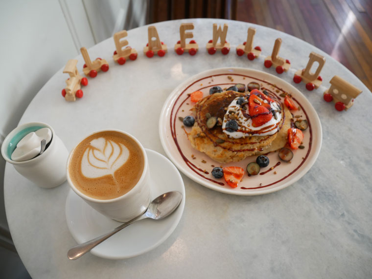 Coffee and pancakes at the Leafwild cafe