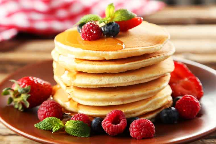 Pancakes with strawberries on Pancake Tuesday