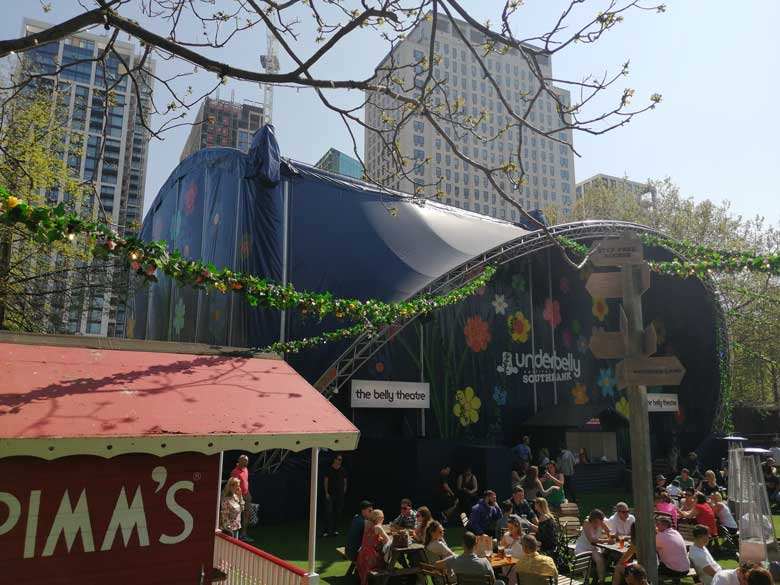 Londoners enjoy the sunshine at the Underbelly Festival